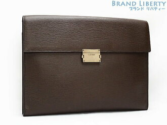 Loewe LOEWE leather clutch bag document case second bag briefcase business case dark brown calf-leather 350.30.108