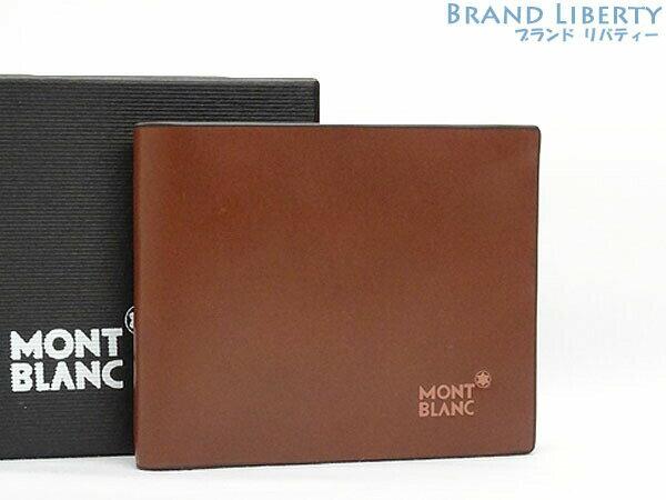 【新品同様】モンブラン MONT BLANC レザー 二つ折り 札入れ財布 コンパクト財布 ブラウン×ダークブラウン カーフレザー 【中古】