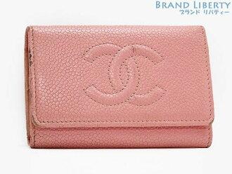 Chanel CHANEL caviar skin here mark six key case key ring key ring pink caviar skin (leather) A13502