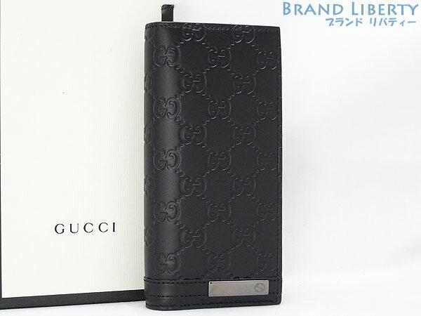 【未使用】 グッチ GUCCI シマ 二つ折り長財布 ブラック シマレザー 414988 【中古】