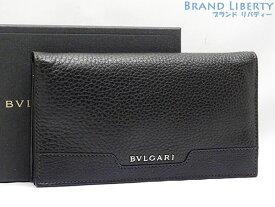 【新古品】ブルガリ BVLGARI アーバン 二つ折り長財布 ブラック カジュアル グレイン カーフレザー 33402 【中古】