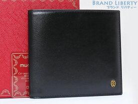 【新古品】カルティエ Cartier パシャ 二つ折り札入れ財布 コンパクト財布 ブラック カーフレザー L3000128 【中古】