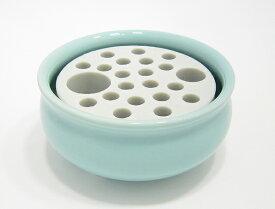 【香炉】【お墓用線香立て】 カラツ 青磁 多孔盤付香炉 大 3.5寸【墓石用】