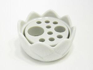 【香炉】【お墓用線香立て】 カラツ 白磁 多孔盤付香炉 小【墓石用】