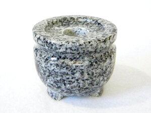 御影石(閃緑石)お墓用線香立て 玉香炉 2.5寸【墓石用】