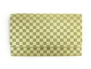 数珠袋 市松 マチ付 緑【念珠袋】【念珠入】