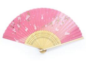 シルク扇子 さくらとうさぎピンク【和小物】【和雑貨】【桜】【兎】