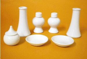 神棚・神具 『神具7点セット中』榊立3.5寸平次3寸白皿2.5寸水玉1.8寸のセット