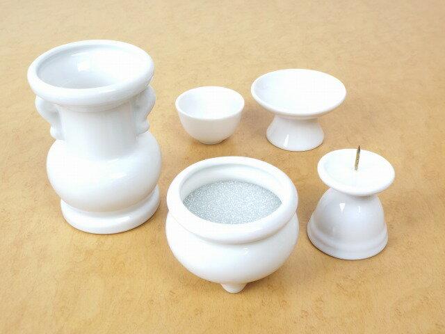 【ペット仏具】ペット用仏具セット2寸香炉仕様 白陶器5点セット【ホワイト】