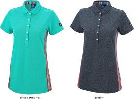【B+(ビープラ)】 BPLP81-002 ストライプチュニック 半袖ポロシャツ (レディスサイズ)