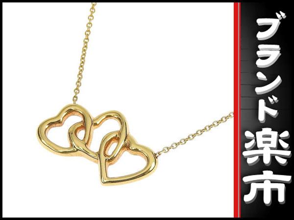 ☆B楽市本店☆本物 Tiffany & Co. ティファニー K18 トリプルハート ネックレス 【ジュエリー】【中古】