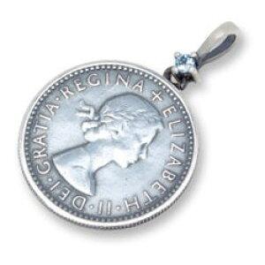 (3月)アクアマリン6ペンスコイン シルバーペンダントトップ*AQUA SILVER(アクアシルバー)/誕生石