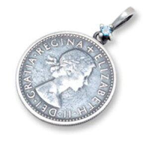 (11月)ブルートパーズ6ペンスコイン シルバーペンダントトップ*AQUA SILVER(アクアシルバー)/誕生石