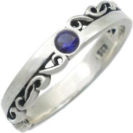 (9月)サファイア ブラック ハーフ スクロール シルバーリング(指輪) 誕生石