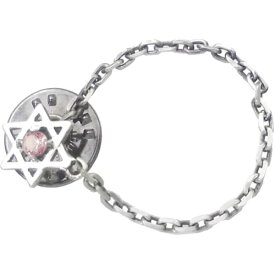 (10月)ピンクトルマリン ヘキサグラム 六芒星 チェーン シルバーピンバッジ ピンズ 誕生石