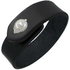 (3月)アクアマリン ホワイト ネイディブ ハート フェザー ブラックレザーブレスレット 誕生石