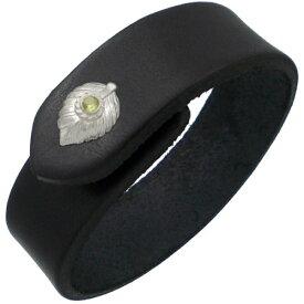 (8月)ペリドット ホワイト ネイディブ ハート フェザー ブラックレザーブレスレット 誕生石