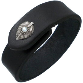 (3月)アクアマリン ブラック ネイディブ ハート フェザー ブラックレザーブレスレット 誕生石