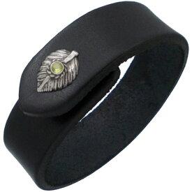 (8月)ペリドット ブラック ネイディブ ハート フェザー ブラックレザーブレスレット 誕生石