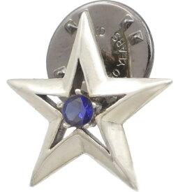 (9月)サファイア ツイン スター シルバーピンバッジ ピンズ誕生石
