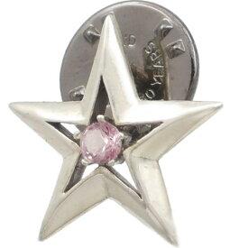 (10月)ピンクトルマリン ツイン スター シルバーピンバッジ ピンズ誕生石