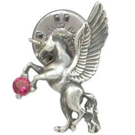 (7月)ルビー 有翼の ユニコーン シルバーピンバッジ ピンズ 誕生石