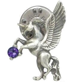 (9月)サファイア 有翼の ユニコーン シルバーピンバッジ ピンズ誕生石