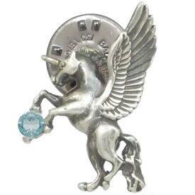 (11月)ブルートパーズ 有翼の ユニコーン シルバーピンバッジ ピンズ誕生石