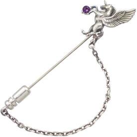 (2月)アメジスト 有翼の ユニコーン チェーン シルバーラペルピン誕生石
