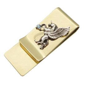 (3月)アクアマリン 有翼の ユニコーン スリムブラスマネークリップ 誕生石