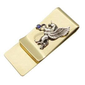 (9月)サファイア 有翼の ユニコーン スリムブラスマネークリップ 誕生石