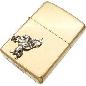 ブラックジルコニア 有翼の ユニコーン オフセットブラスジッポ