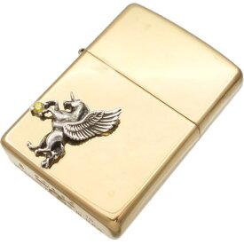 イエロージルコニア 有翼の ユニコーン オフセットブラスジッポ 金運 開運 誕生石