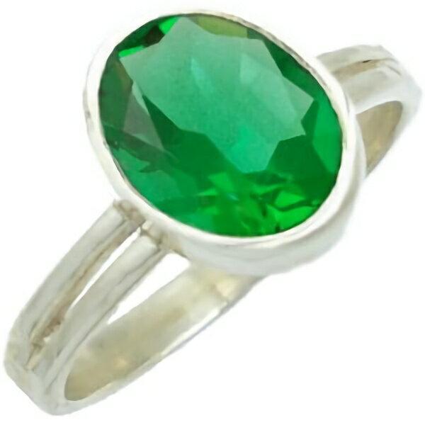 オーバルエメラルドグラス シルバープレーンリング(指輪)