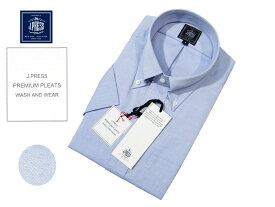 Jプレス J.PRESS(ジェイ・プレス) MEN ボタンダウンシャツ 半袖 ブルー ピンオックスフォード 定番 形態安定 プレミアムプリーツ 2019年夏モデル スーピマコットン使用 あす楽対応 Jプレス メンズ