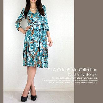 LA touch9 카슈크르뉴안스 꽃무늬 원피스 블루