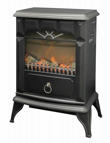 新品 山善 暖炉型ヒーター 疑似炎 照度調整機能付き アンティーク ブラック YDH-SK10