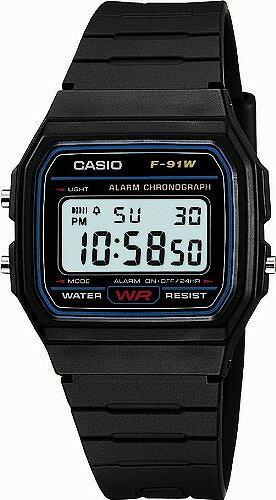 [カシオ]Casio 腕時計 スタンダードデジタルウォッチ 日常生活防水 LEDライトつき F-91W-1JF メンズ 郵パケットにて発送