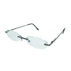 老眼鏡 シニアグラス ふちなしタイプ 1.0度 ブラック エール AF101S 1.0