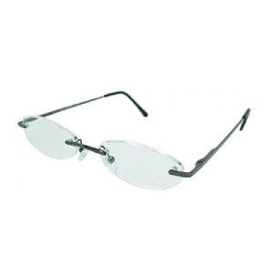 老眼鏡 シニアグラス ふちなしタイプ 2.0度 ブラック エール AF101S 2.0