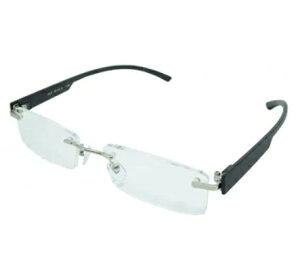 老眼鏡 シニアグラス ふちなしタイプ 2.0度 ブラック エール AF105S 2.0