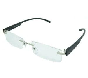 老眼鏡 シニアグラス ふちなしタイプ 3.0度 ブラック エール AF105S 3.0