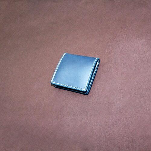 コードバン 小銭入れ 本藍染め 【財布/長財布/ウォレット/ロングウォレット/革/レザー/コードバン/手縫い】