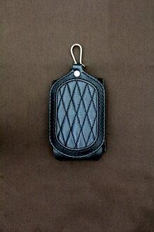 Smart phone case type diamond stitch black leather / black stitch