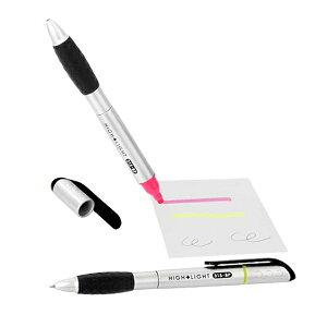 ボールペン(0.7mm 黒) 蛍光ペン付(ピンク・イエロー) 2本組