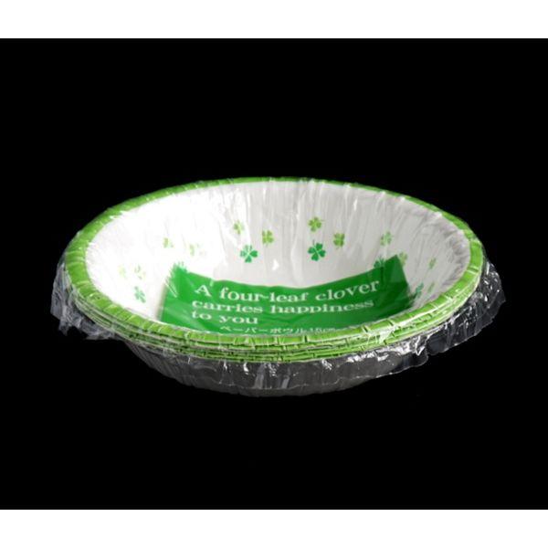 紙皿 ボウル型 クローバー柄 15cm 6枚入