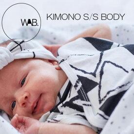 WAB KIMONOSS-BODY 赤ちゃん ロンパース モノトーン おしゃれ 出産祝い 半袖 BODYSUIT ボディースーツ ベビー 0-3M 着せやすい