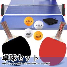 ポータブル 卓球セット 卓球 ピンポン ネット ラケット 卓球ボール (ラケット×2本 伸縮ネッ×1個 ボール×4個) 収納バッグ付き 家庭用 アウトドア用