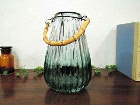 ジャギッドガラス キャンドルホルダー グリーン 置き型 吊り下げ 一輪挿し フラワーベース 花瓶 アイアン アンティーク クラシック キャンドルランタン テーブルランタン アジアン