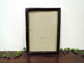 オールドチーク フォトフレーム A4 ブラック 黒 壁掛け チーク材 古材 天然木 おしゃれ インテリア アンティーク クラシック オールド 額縁 アジアン雑貨
